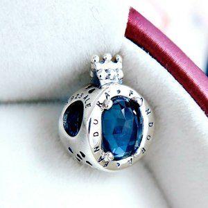 Authentic Pandora Silver Blue Sparkling Crown